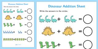 dinosaur addition sheet dinosaur themed addition sheet