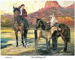 cowboy western art giclee birthday girl jpg