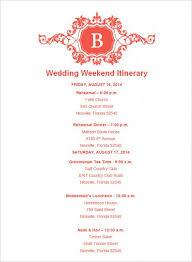 wedding itinerary wedding itinerary template template business