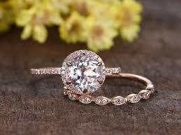 gold wedding ring sets 1 8 carat morganite gold wedding set diamond engagement ring