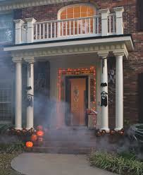 column portico with top rail all decorated for halloween designed
