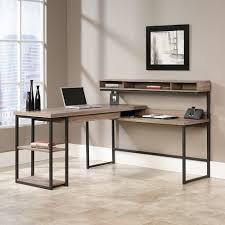 nickel plated desk l sauder transit collection multi tiered l shaped desk salted oak
