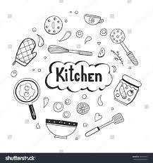 set hand drawn doodle cooking ingredient stock vector 703755913