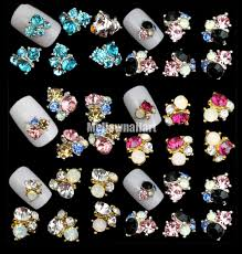 10x 3d elegant alloy rhinestone nail art stickers tip decor