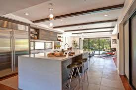 decor ceiling beams and mini pendant lights with bar stools also