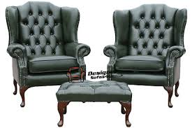 Queen Anne Wingback Chair Leather Chairs Collection On Ebay