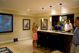 Man Cave Ideas For Small Spaces - man cave ideas for basement with bar stool and modern chandelier