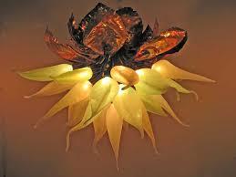 Glass Blown Chandelier Lotus Ii Glass Blown Chandelier Artisan Crafted Lighting