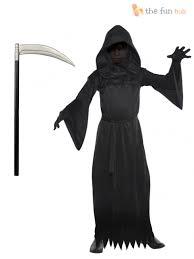 grim reaper costume age 8 14 boys grim reaper costume scythe fancy dress