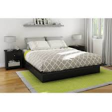 Bed With Attached Nightstands South Shore Soho Queen Platform Bed U0026 Headboard With 2 Nightstands