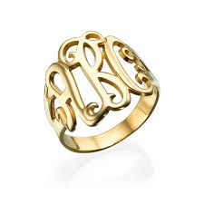 monogrammed ring 18k gold plated monogrammed ring mynamenecklace