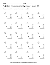 addition to 50 worksheet free printable first grade math worksheets