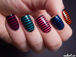 multicolor nails with black stripes design nail art
