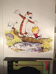20 choices of calvin and hobbes wall art wall art ideas painted a calvin and hobbes wall mural for my daughters room with regard to calvin and
