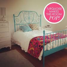 turquoise painted leirvik bed frame from ikea mi casa the