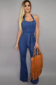 jean rompers and jumpsuits style halter wide leg denim jumpsuit jumpsuits rompers