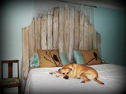 bedroom nice rustic headboards wooden master beds with dog over