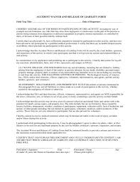 liability release template release of liability form waiver of