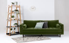 Emerald Green Velvet Sofa by Green Velvet Sofa Stockholm Threeseat Sofa Gammelbo Light Brown