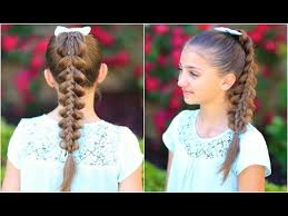 cute hairstyles pull through braid stacked pull thru braid cute girls hairstyles youtube