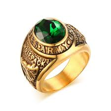men s ring mprainbow us army gold overlay mens ring simulated emerald green