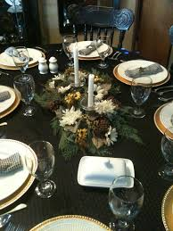 thanksgiving table setting the brown green and white color