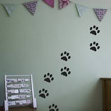 foot print on wall interior decor in boy room with green color
