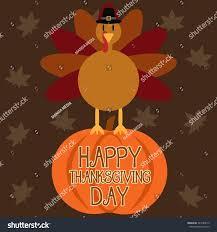 colors for thanksgiving turkey cartoon on pumpkin thanksgiving banner stock vector
