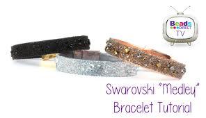 leather bracelet with swarovski crystal images Swarovski quot medley quot leather bracelet tutorial jpg