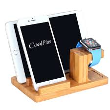 multi device desktop bamboo wood charging station dock stand