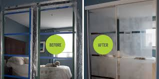 diy frosted mirror closet doors