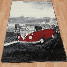 Vw Kitchen Accessories - retro vintage red vw campervan rugs vibrant stunning and modern