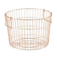round copper wire storage basket the container store
