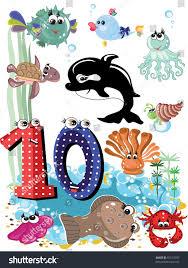 sea animals numbers series kids 0 stock illustration 81513787