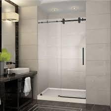 Satin Glass Shower Door by Aston Langham 48 In X 77 5 In Completely Frameless Sliding