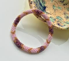 gold beads bracelet images Pink purple and gold beads nepal roll on bracelet glass seed jpg