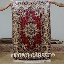 Silk Oriental Rugs Yilong 3 U0027x4 5 U0027 Antique Persian Silk Red Tabriz Carpet Exquisite
