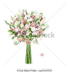 wedding flowers drawing vectors illustration of wedding bouquet floral for your design