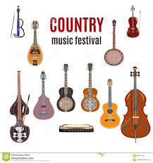 vector set of country music instruments flat design stock vector