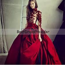 Evening Gowns Burgundy Long Dress With Sleeves Ball Gown Fashion Tips