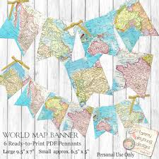 World Map Pdf by World Map Bunting Map Garland Printable Map Banner Travel Theme