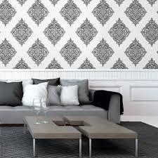 Grey Wallpaper Living Room Uk Fine Decor Glamour Medallion Damask Wallpaper White Silver Black