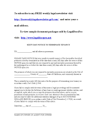Notice To Vacate Apartment Letter Sample 60 Day Notice To Vacate For California Leasehold Estate
