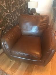 Small Chair Two Natuzzi Barker And Stonehouse Carmelo Brown Leather Small