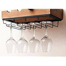 amazon com kenley wall mounted modern wine rack with glass holder