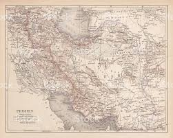 Ancient Map Ancient Map Of Persia Lithograph Published In 1877 Stock Vector