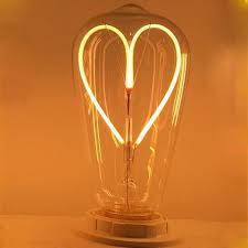 incandescent strip light bulbs 2w warm white edison heart filament led light bulb 2700k dimmable
