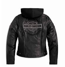 black riding jacket harley davidson womens miss enthusiast 3 in 1 riding leather jacket