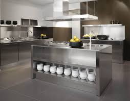 industrial style kitchen stainless steel kitchen island brushed