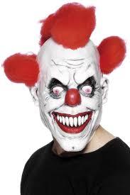 amazon com scary red eyed clown 3 4 mask clothing